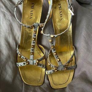 Prada studded accent t-strap snake sandal sz 40